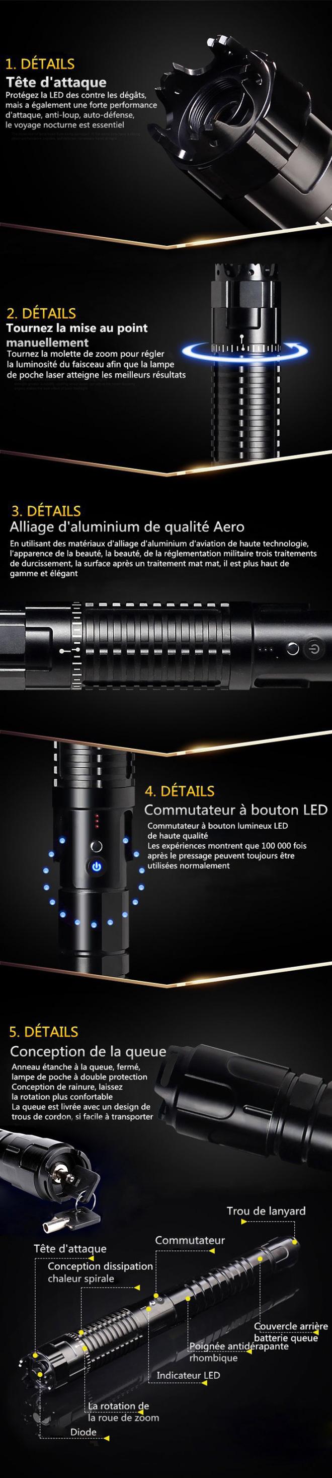 pointeur laser bleu 30000mW professionnel