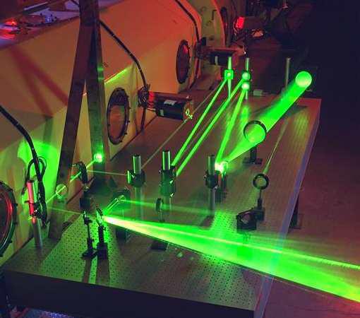 Rayon laser à travers un dispositif optique
