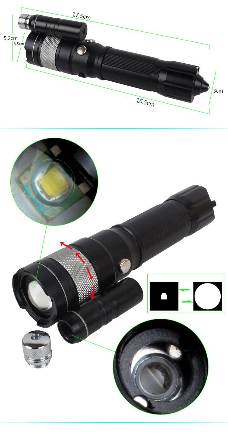 htpow lampe torche multifonctionnelle zoom avec vis e laser vert pas cher. Black Bedroom Furniture Sets. Home Design Ideas