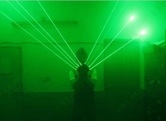 bleu violet vert laser gants
